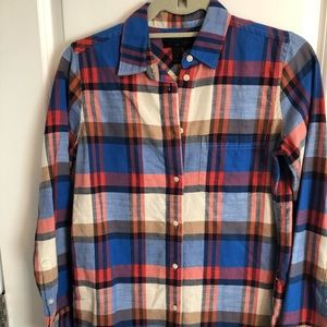 NWOT J.CREW plaid flannel button down red/blue 0